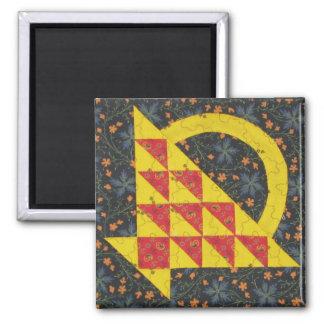 Bright Basket Quilt block Magnet
