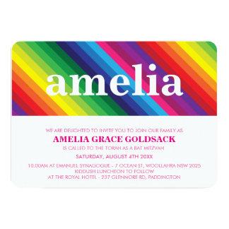 BRIGHT BAT MITZVAH colorful rainbow stripe simple 5x7 Paper Invitation Card