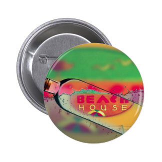 Bright Beach House Sign Message in A Bottle Pinback Button