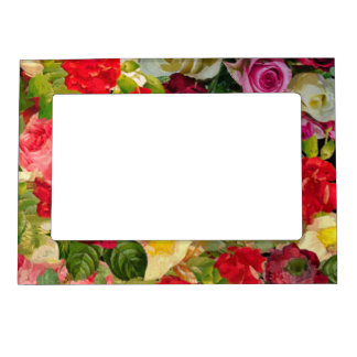Bright Beautiful Flower Collage Magnetic Picture Frame