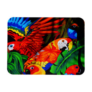 Bright Beautiful Parrots Magnet