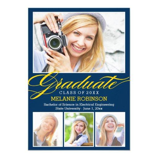 Bright Beginning Graduation Invitation - Navy Blue