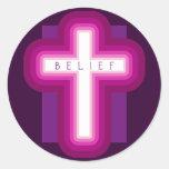 Bright Belief Cross Round Sticker