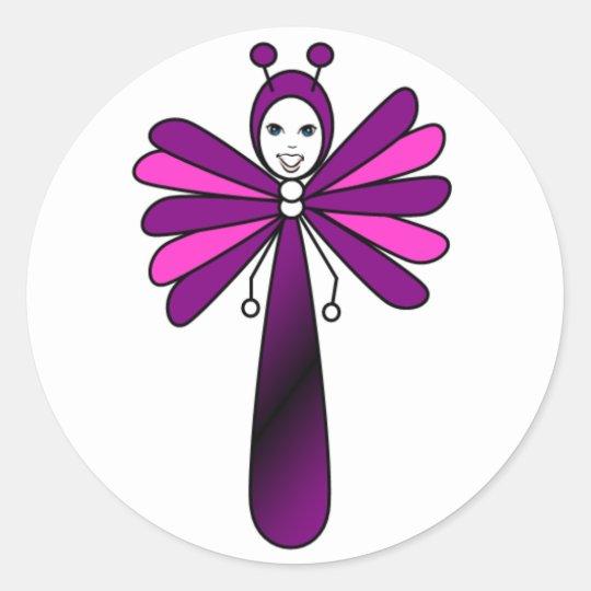 Bright 'Bella' Butterfly by Kelassa Classic Round Sticker