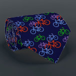 """Bright Bicycles on Navy Blue Pattern Double Neck Tie<br><div class=""""desc"""">Here&#39;s a fun novelty neck tie that brighten any shirt or suit! Brightly colored red, blue, purple and green bicycles are scattered across a dark navy blue background. Perfect for any guy who likes to cycle, or just for fun! This tie has the same image pattern on the back, and...</div>"""
