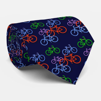 Bright Bicycles on Navy Blue Pattern Double Neck Tie