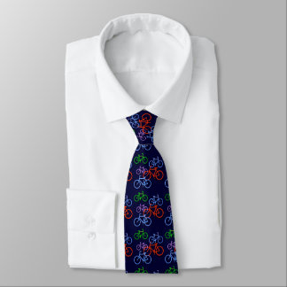 Bright Bicycles on Navy Blue Pattern Neck Tie
