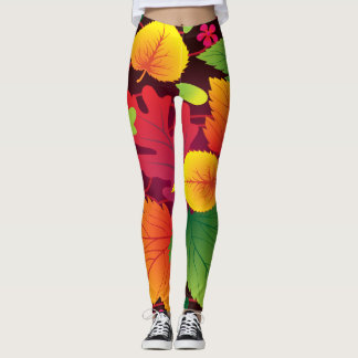Bright Big Fall Leafy Print for Autumn Leggings
