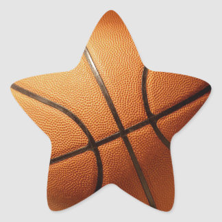 Bright_Big_Round_Orange_Basketball, _ Pegatina En Forma De Estrella
