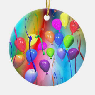 Bright Birthday Balloons Ceramic Ornament