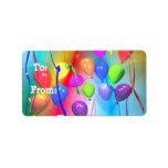 Bright Birthday Balloons Gift Tag Custom Address Labels
