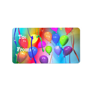Bright Birthday Balloons Gift Tag Custom Address Labels