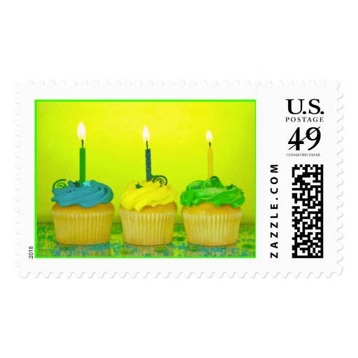Bright Birthday Cupcakes Postage Stamps
