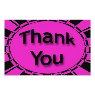 Bright Black and Pink Thank You Flyer