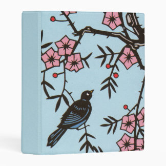 Bright Black Bird in Tree Abstract Cherry Blossoms Mini Binder