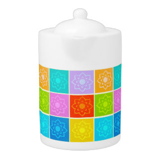 Bright Block Floral Teapot
