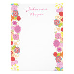Bright Blossoms Recipe Binder Insert Letter Pages Letterhead Template