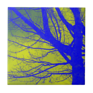 Bright Blue Alder Tree Abstract Ceramic Tile