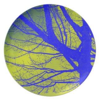 Bright Blue Alder Tree Abstract Dinner Plate