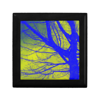 Bright Blue Alder Tree Abstract Jewelry Box