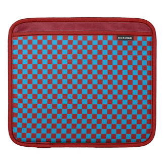 Bright Blue and Barn Red Checkerboard Sleeves For iPads