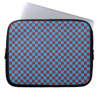 Bright Blue and Barn Red Checkerboard Computer Sleeves