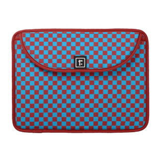 Bright Blue and Barn Red Checkerboard Sleeve For MacBook Pro