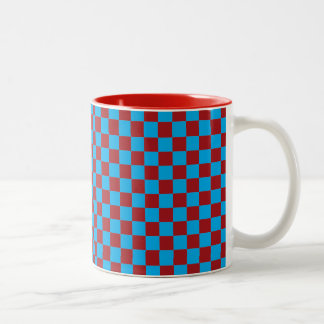 Bright Blue and Barn Red Checkerboard Coffee Mugs