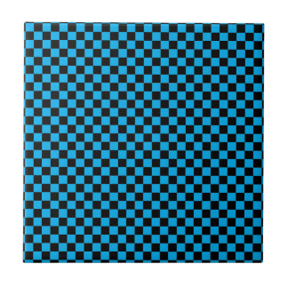 Bright blue and black checkerboard tiles Bright blue tile
