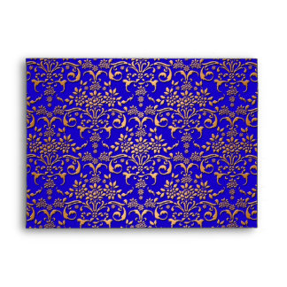 Bright Blue and Gold Fancy Damask Pattern Envelope