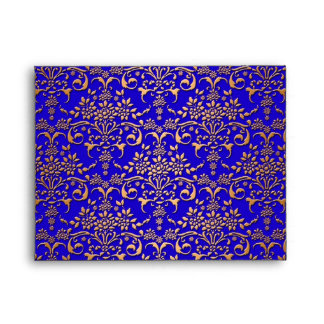 Bright Blue and Gold Fancy Damask Pattern Envelopes