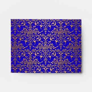 Bright Blue and Gold Fancy Damask Pattern Envelope