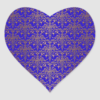 Bright Blue and Gold Fancy Damask Pattern Heart Sticker