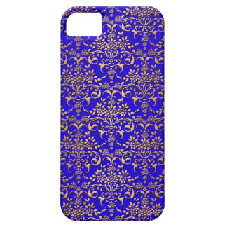 Bright Blue and Gold Fancy Damask Pattern iPhone SE/5/5s Case
