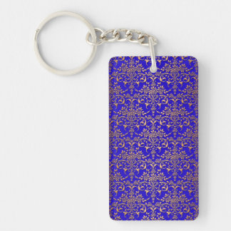Bright Blue and Gold Fancy Damask Pattern Keychain