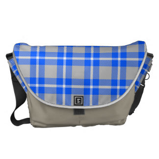 Bright Blue and Gray Flannel Plaid Messenger Bag