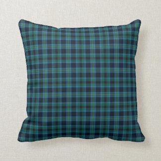 Bright Blue and Green Clan Miller Scottish Tartan Throw Pillow