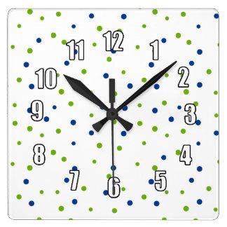 Bright Blue and Green Polka Dots Square Wall Clock
