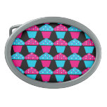 Bright Blue and Hot Pink Cupcake Pattern Oval Belt Buckles