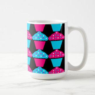 Bright Blue and Hot Pink Cupcake Pattern Coffee Mug