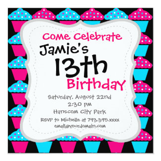 Bright Blue and Hot Pink Cupcake Pattern 5.25x5.25 Square Paper Invitation Card
