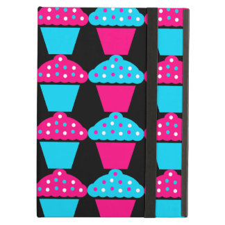 Bright Blue and Hot Pink Cupcake Pattern iPad Covers