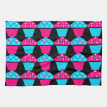 Bright Blue and Hot Pink Cupcake Pattern Kitchen Towel