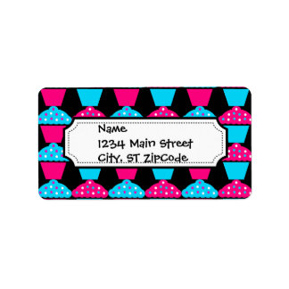 Bright Blue and Hot Pink Cupcake Pattern Label