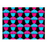 Bright Blue and Hot Pink Cupcake Pattern Post Card