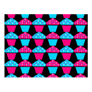 Bright Blue and Hot Pink Cupcake Pattern Postcard