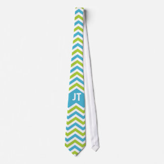 Bright Blue and Lime Chevron Personalized Tie
