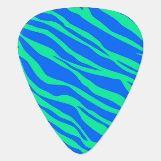 Bright Blue and Neon Green Zebra Striped Guitar Pick