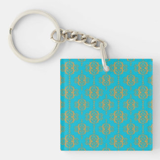 Bright Blue and Peach Damask Pattern Keychain
