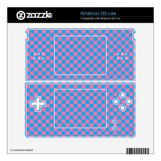 Bright Blue and Pink Checkerboard Decals For DS Lite
